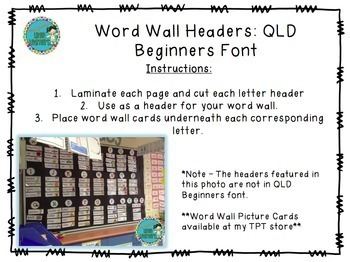QLD Beginners Font Word Wall Alphabet Headers