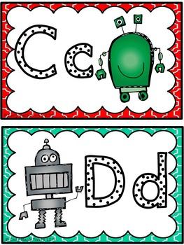Word Wall Alphabet Headers: Robot Theme