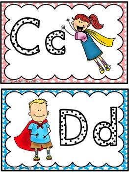 Word Wall Alphabet Headers: Super Hero Kids Theme