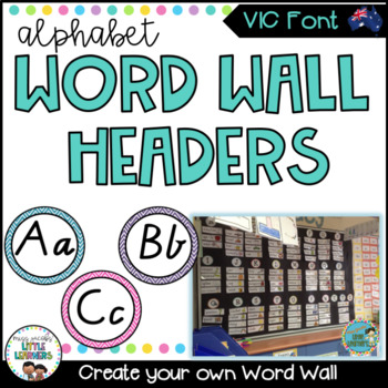 Victorian Modern Cursive Font Word Wall Alphabet Headers