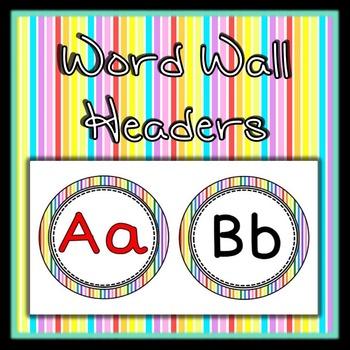 Word Wall Alphabet Headers - rainbow