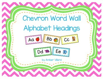 Word Wall Alphabet Headings with Pictures {Chevron}