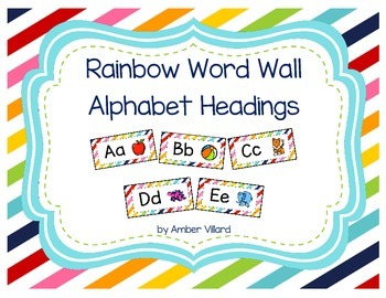 Word Wall Alphabet Headings with Pictures {Rainbow}
