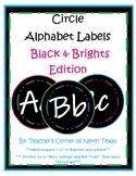 Word Wall Alphabet Circle Labels- Black & Brights Edition