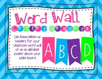 Word Wall Alphabet Letter Header Flag Signs