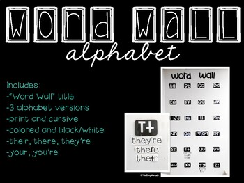 Word Wall Alphabet Letters (3 versions)