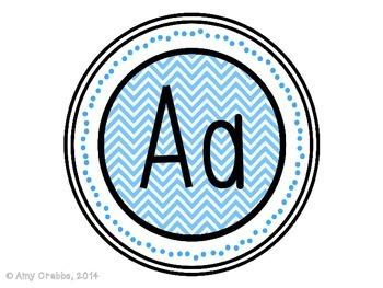Word Wall Alphabet Letters - Blue Chevron