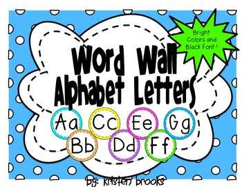 Word Wall Alphabet Letters (Bright Colors and Black Font)