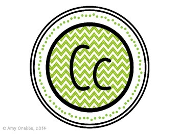 Word Wall Alphabet Letters - Green Chevron