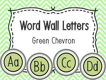 Word Wall Alphabet Letters - Green Chevron