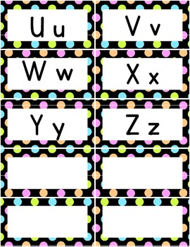 Word Wall Alphabet Letters - Neon Polka Dots - Free