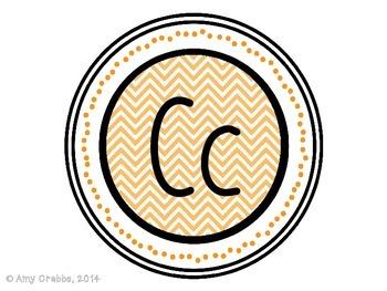 Word Wall Alphabet Letters - Orange Chevron