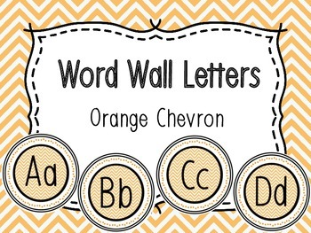 Word Wall Alphabet Letters - Orange Chevron