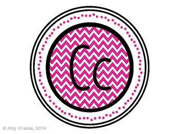 Word Wall Alphabet Letters - Pink Chevron