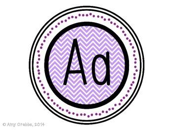 Word Wall Alphabet Letters - Purple Chevron