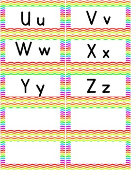 Word Wall Alphabet Letters - Rainbow Chevron- Free