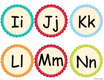 Word Wall Alphabet Letters - Turquoise Dots