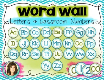 Word Wall Alphabet & Numberline {Aqua & Lime}