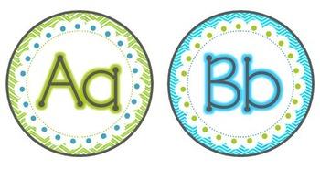 Word Wall Alphabet & Numberline {Aqua & Lime}
