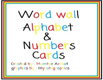 Word Wall Alphabet & Numbers(1-20) in Primary Colors :