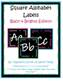 Word Wall Alphabet Square Labels- Black & Brights Edition