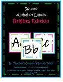 Alphabet Square Labels - Black & Brights Edition
