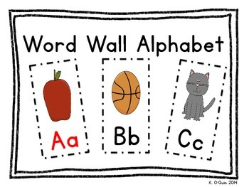 Word Wall Alphabet (Vowels in Red)
