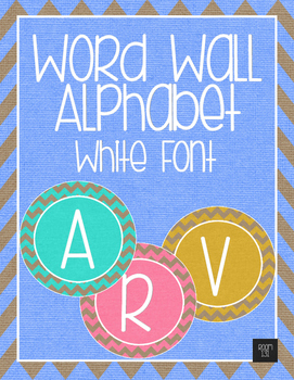 Word Wall Alphabet - White Letters with Rainbow Burlap