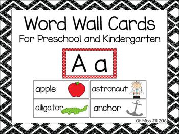 Word Wall Alphabet Word Cards For Preschool and Kindergarten