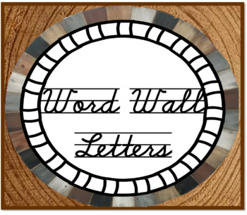 Word Wall Alphabet letter cards Cursive - Woodland Theme
