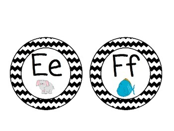 Word Wall Alphabet with Black and White Chevron:
