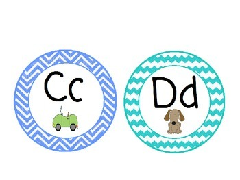 Word Wall Alphabet with Colored Chevron Patterns: