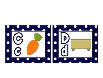 Word Wall Alphabet with pictures and Navy Blue polka dots: