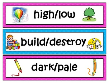 Antonyms Word Wall - Opposites Labels/Cards (124 words)