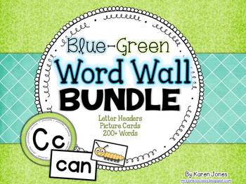 Word Wall BUNDLE {Blue Green} with Headers, Pictures, and