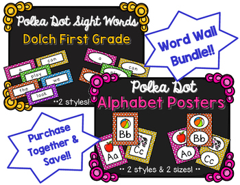 Word Wall BUNDLE - Dolch First Grade - Polka Dot