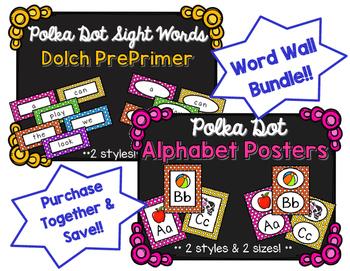Word Wall BUNDLE - Dolch PrePrimer - Polka Dot