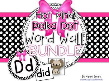 Word Wall BUNDLE {Hot Pink & Polka Dot} with Headers, Pictures, and 200+  Words