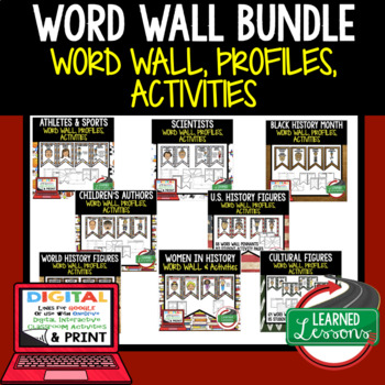 Word Wall BUNDLE, Profiles & Activity Pages (History) Digital Google Option