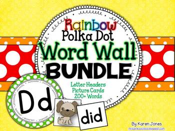 Word Wall BUNDLE {Polka Dot Rainbow} with Headers, Pictures, and 200+ Words