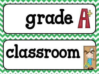 Word Wall - Back To School - Green Chevron