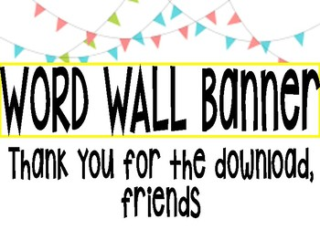 Word Wall Banner