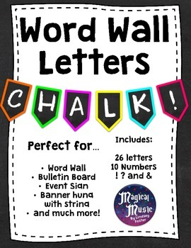 Word Wall Banner Letters - {Neon and Chalkboard!}