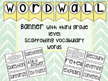 Word Wall Banner and 3rd grade Scaffolding vocabulary word note cards.