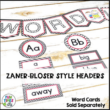 Word Wall Banner and Headers | Black, White, & Red Decor