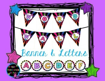 Word Wall Banner and Letters (Bright Colors)
