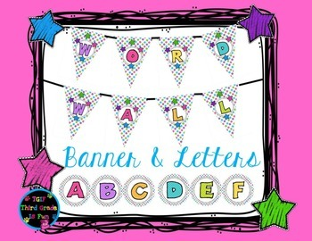 Word Wall Banner and Letters (Polka Dots)