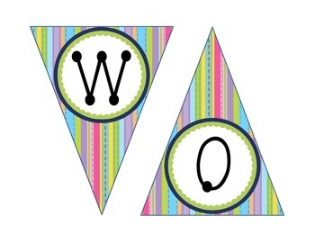 Word Wall Banners in Chevron, Stripes, or Mermaid Paper