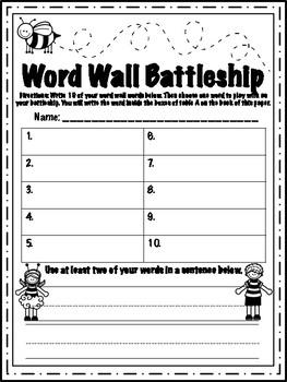 Word Wall Battleship