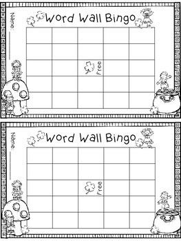 Word Wall Bingo - Blank - Printer Friendly - Seasonal - Print and Go